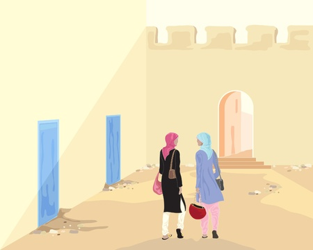 an illustration of two muslim women with shopping bags walking through an old street in the evening sunlight Vector