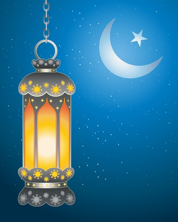 an illustration of a decorative ramadan lantern with bright flame against a dark starry sky with islamic symbol