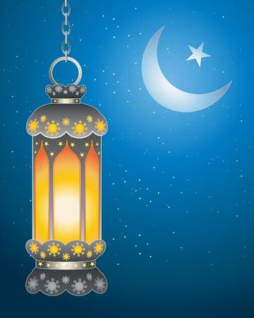 almanak: een illustratie van een decoratieve ramadan lantaarn met heldere vlam tegen een donkere sterrenhemel met islamitische symbool