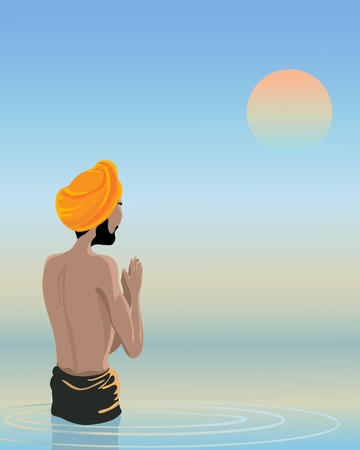 an illustration of a sikh man bathing inthe waters of the holy pool under a sunset sky Stock Vector - 10625371
