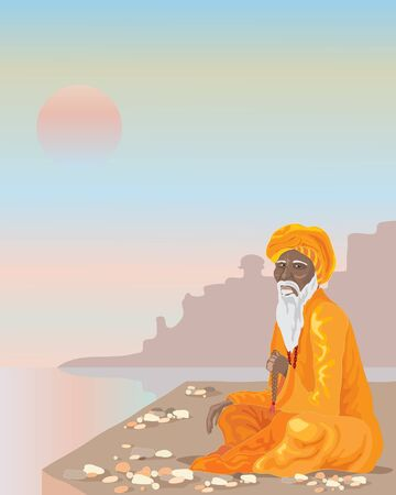 an illustration of an indian sadhu sat crossed legged by the river ganges under a sunset sky Ilustrace