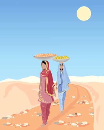 india culture: an illustration of two asian ladies carrying fruit along a rural dirt track under a blue sky