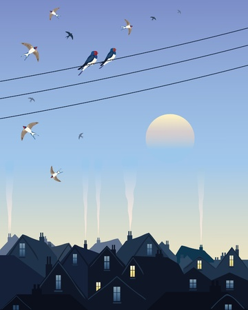 migrate: an illustration of a group of swallows flying around telegraph wires preparing to migrate in autumn over city rooftops