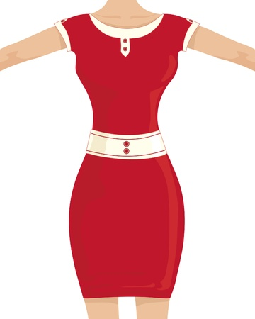 hour glass figure: an illustration of a woman in a red dress with an hour glass figure on a white background Illustration