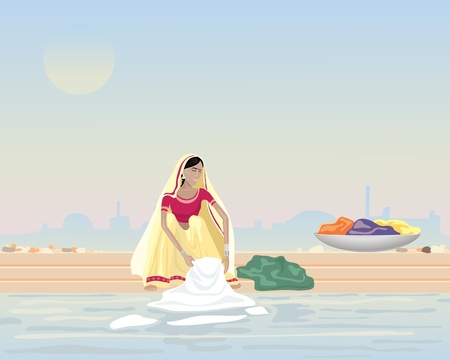 india city: an illustration of an asian woman washing laundry in a river with a misty city in the background
