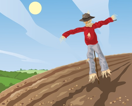 hedgerows: an illustration of a scarecrow in a plowed field with patchwork fields in the background under a blue sky Illustration