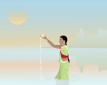 offerings: an illustration of an asian woman bathing in the ganges with offerings under a smoky sunset sky