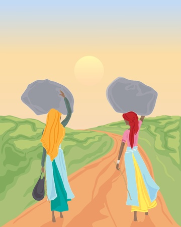 india culture: an illustration of two tea pickers walking down a track with full sacks of tea leaves under a sunset sky Illustration