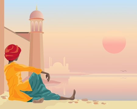 sadhu: an illustration of a holy man sitting by a river with indian architecture under a setting sun
