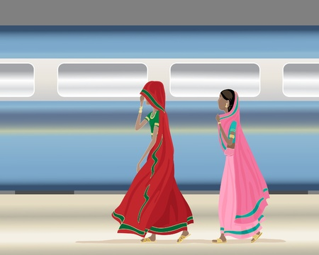 modern train: an illustration of two traditionally dressed indian ladies walking along a station platform with a modern indian train speeding by