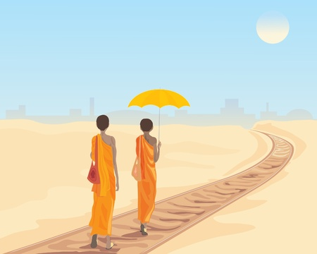 devout: an illustration of two buddhist monks walking along a railway track with a city in the distance under a hot sun