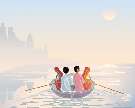 an illustration of a group of asian men and women travelling by boat on the river ganges in early morning Vector