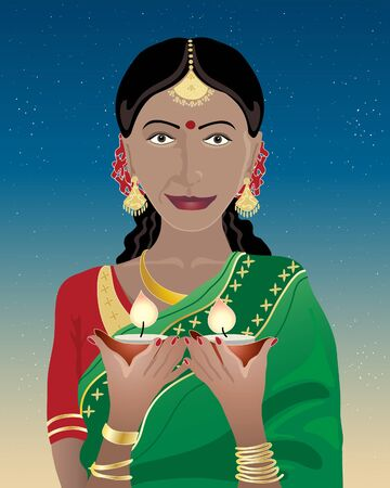 an illustration of an indian lady dressed in a saree holding diwali lamps under a dark starry sky Vector