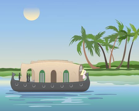 cruising: an illustration of a keralan houseboat cruising the backwaters with coconut trees under a blue sky