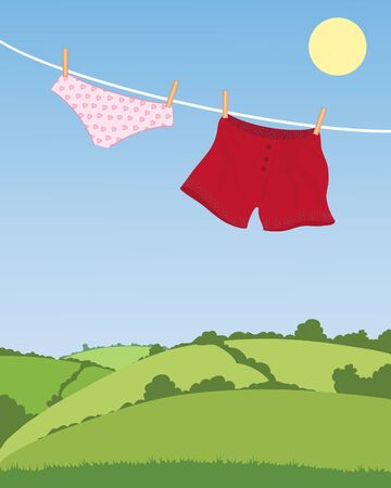 hedgerows: an illustration of his and hers underwear on a washing line with a pretty landscape in the background under a blue sky