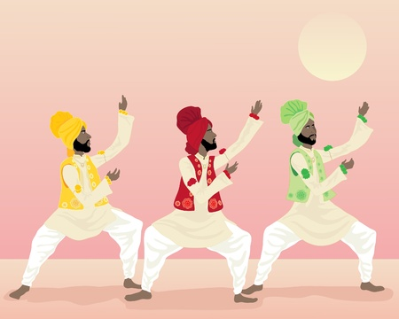 salwar: an illustration of three male punjabi dancers in colorful traditional clothing dancing under a warm sun Illustration