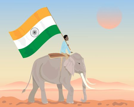 india culture: an illustration of an indian elephant with mahout carrying a big flag of india under a sunset sky