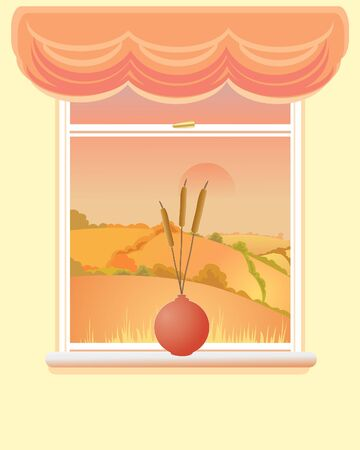 hedgerows: an illustration of a window with an autumnal landscape a vase of bullrushes and a swag curtain Illustration