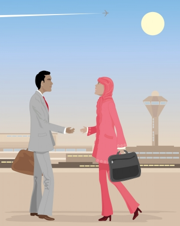 asian business people: an illustration of an asian businessman meeting a muslim business woman at an airport under a dusty sky with plane trail