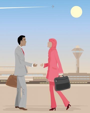 femme d affaire asiatique: une illustration d'un homme d'affaires asiatique de rencontrer une femme d'affaires musulman dans un a�roport sous un ciel poussi�reux avec une piste plane Illustration