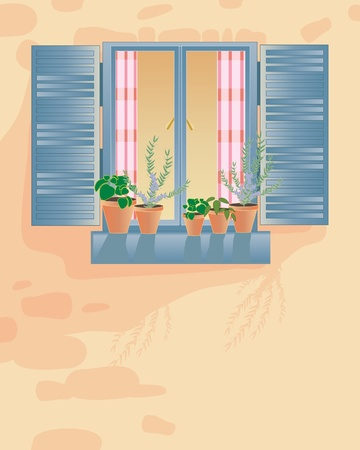 window sill: an illustration of an old rustic window with checked curtains shutters and pots of herbs on the windowsill in a stone wall Illustration