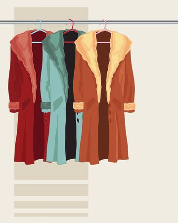 winter fashion: An illustration of three fashionable winter coats in different colors hanging on a metal pole