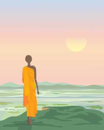 An illustration of a Buddhist monk standing on a hilltop looking at a sunset landscape in Asia Vector