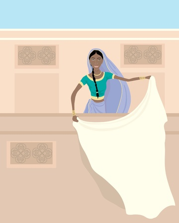 india culture: an illustration of an indian lady dressed in a saree standing on a balcony with white laundry under a blue sky