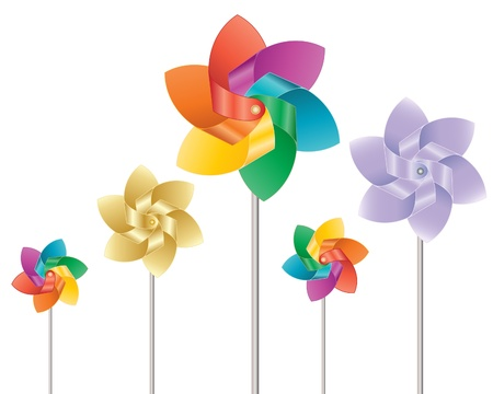 windmill toy: an illustration of colorful toy windmills on a white background Illustration