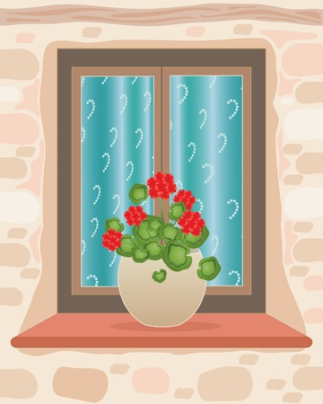 curtain window: an illustration of a small window and sill with a pot full of red geraniums in a rustic stone wall