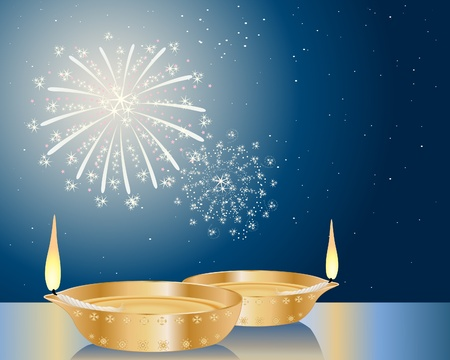 brass lamps: an illustration of two fancy diwali lamps under a starry sky with fireworks Illustration
