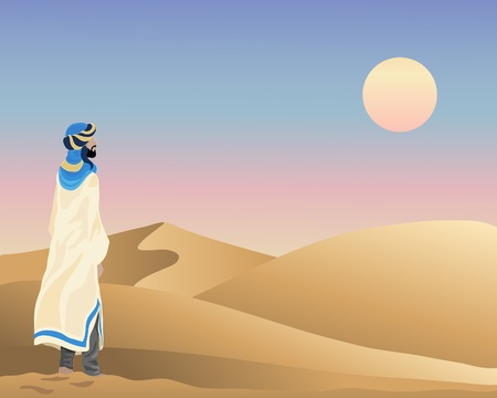 an illustration of a bedouin standing in front of rolling sand dunes under a sunset sky