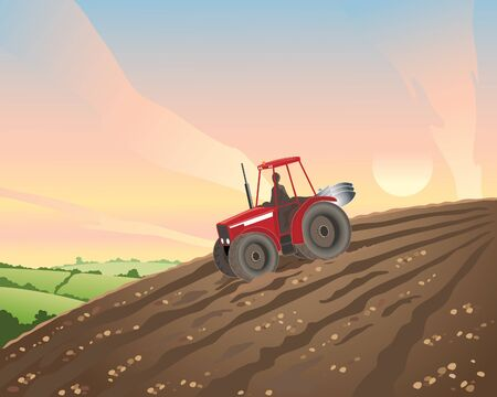 an illustration of a red tractor in a plowed hillside field at sunset