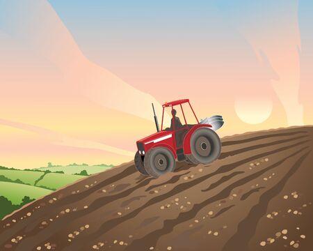 ploegen: een illustratie van een rode tractor in een geploegde akker helling bij zonsondergang