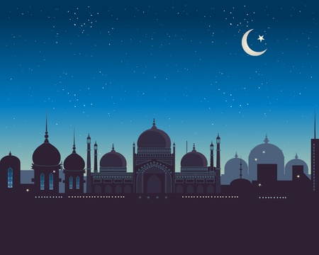 an illustration of an exotic islamic skyline under a starry night sky Vector