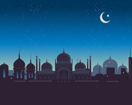 mezquita: una ilustraci�n de un horizonte de ex�ticos isl�mico bajo un cielo estrellado Vectores