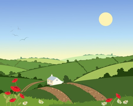 an illustration of a country cottage in a summer landscape with rolling hills hedgerows and flowers under a blue sky Ilustrace