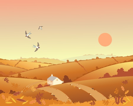 an illustration of a country cottage in an autumn landscape with rolling hills hedgerows and leaves under a sunset sky