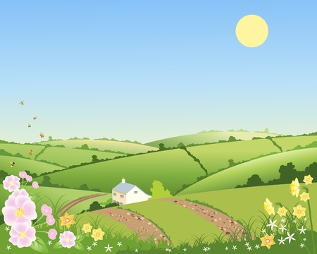 hedgerows: an illustration of a country cottage in a spring landscape with rolling hills hedgerows and flowers under a blue sky