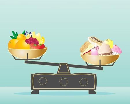 balanza en equilibrio: una ilustración de las escalas con la fruta en una cacerola y pasteles en la otra sobre un fondo verde pálido, azul