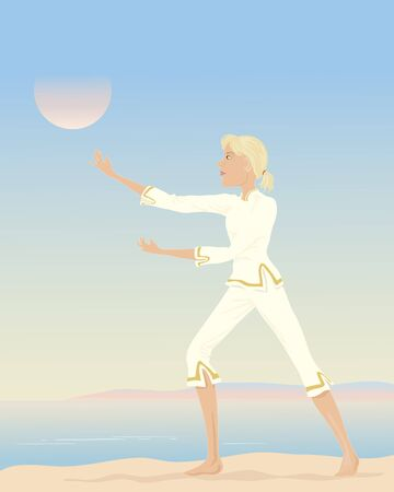 tai chi: an illustration of a woman practising tai chi with a seascape background