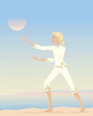 chi: una ilustraci�n de una mujer que practica el tai chi con un fondo marino