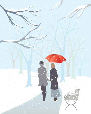 an illustration of a couple walking hand in hand with a red umbrella in a snowy park