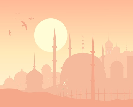 an illustration of an exotic skyline with islamic architecture at sunset