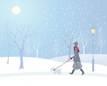 frosted: an illustration of a woman walking a small dog in a snowy park with an old fashioned lamp and frosted trees