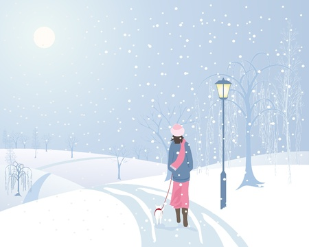 an illustration of a woman walking a small dog in a snowy park with an old fashioned lamp and frosted trees Vector