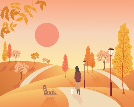 an illustration of a woman walking a small dog in an autumn park with old fashioned lamps and colorful trees Vector