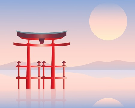 setting sun: an illustration of a japanese floating gate with water hils and a setting sun