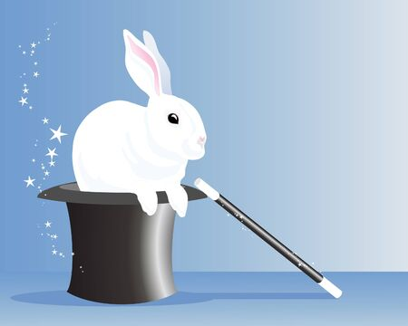 an illustration of a white rabbit appearing from a silky black magicians hat with wand and sparkles Vector