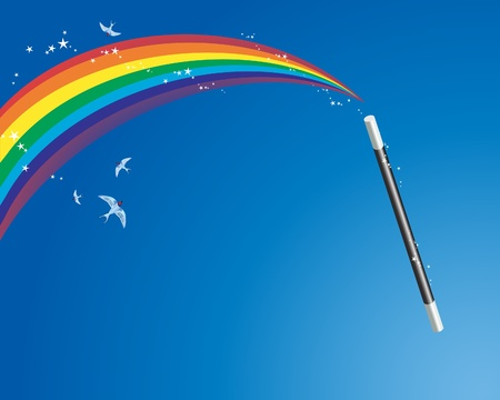 rainbow color star: an illustration of a magic wand creating a rainbow with bluebirds and sparkles